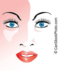 Face - Beauty girl closeup face illustration vector file