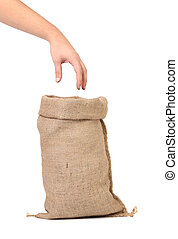 Sack with wheat flour and hand.