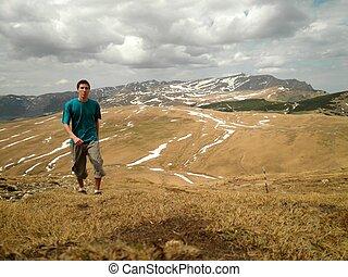 Man Hiking in Romania