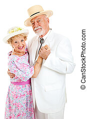 Loving Senior Couple Dancing - Loving senior couple in...