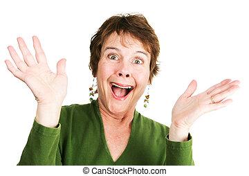 Mature Woman - Ecstatic - Humorous photo of a mature woman...