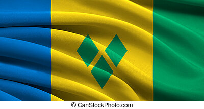 Flag of Saint Vincent and the Grenadines waving in the wind
