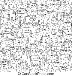 Beach bar seamless pattern in black and white - Beach bar...