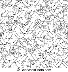 Beach seamless pattern in black and white - Beach seamless...