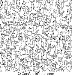 Dancing party seamless pattern in black and white - Dancing...
