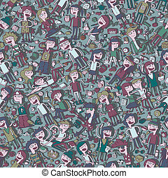Singing children and school objects seamless pattern