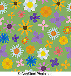 SeamlessFlowers - A seamless pattern of assorted flowers of...