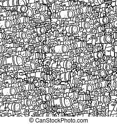 Paparazzi seamless pattern in black and white Illustration...
