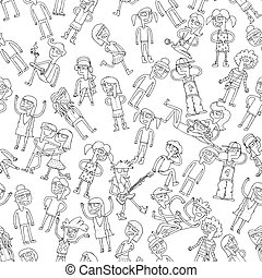 Singing children seamless pattern in black and white -...
