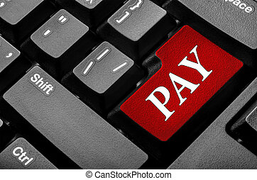 Pay keyboard key. Online payment concept