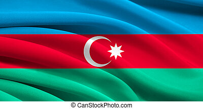Flag of Azerbaijan waving in the wind