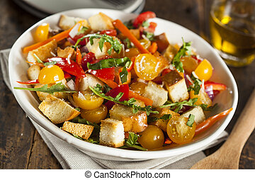 Traditional Healthy Panzanella Salad with Bread Crumbs and...