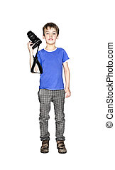 A smiling little boy with camera