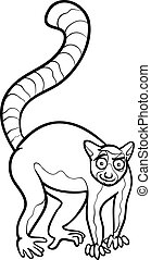 lemur animal cartoon coloring page - Black and White Cartoon...