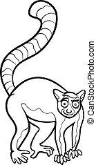 lemur animal cartoon coloring page - Black and White Cartoon...