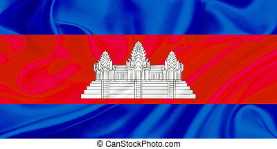 Flag of Cambodia waving in the wind