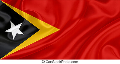Flag of East Timor waving in the wind