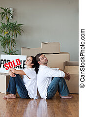 Young Couple Moving House - Happy Young Couple Moving House