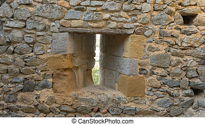 loophole castle - loophole into the stone walls of a...