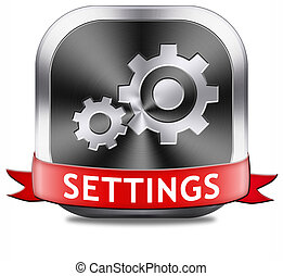 settings button cogwheel gear mechanism change or reset sign...