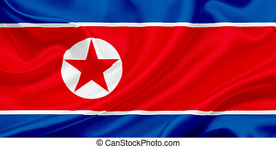 Flag of North Korea waving in the wind