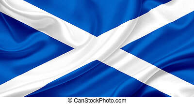Flag of Scotland on a silk cloth
