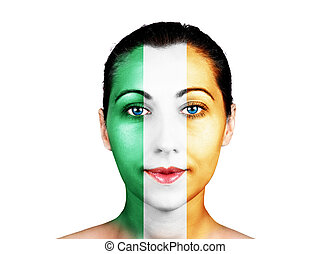 Face with the Ireland flag - Face of a woman with the...