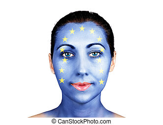 Face as the European Union flag - Face with the European...