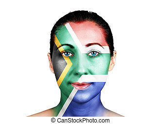 Face with the South Africa flag - Face of a woman with the...