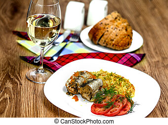 Fish fillet and wine - Fish fillet with vegetables and