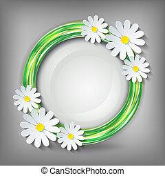 Eco stylish background with 3d chamomile