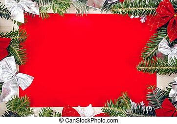 Christmas frame for congratulations and red paper