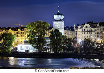 Prague Manes Tower in the night