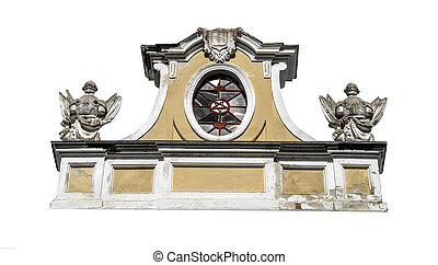 Old pediment isolated on a white background