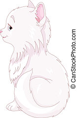 White Cat - Illustration of white cat sitting