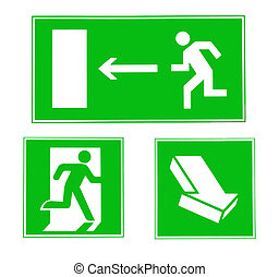 Signs exit - Isolated signs of exit, the direction of escape...