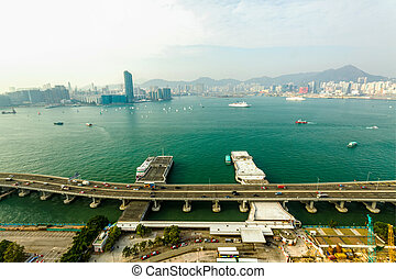 Hong Kong - Kowloon bay views to the north point of Hong...