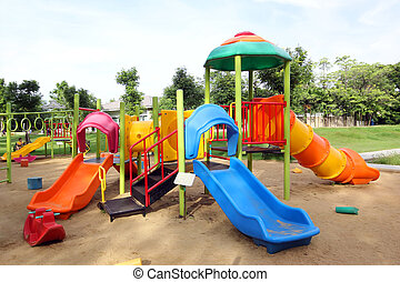 children playground - Colorful children playground in the...
