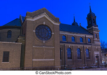 Church Facade at Night in Saint Paul - Exterior of Neo...