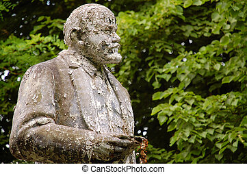 Uncared, shabby and flaky monument to Lenin - The deserted,...