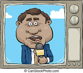 TV News Reporter - A cartoon news reporter on the screen of...