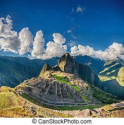 Machu Picchu beautiful panorama overview above the world...