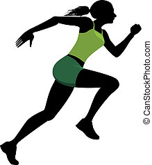 Female runner - Silhouette of a running woman, vector...