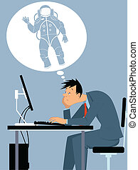 Dreaming of a career change - Depressed man sitting at his...
