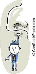 Hanging from Nose Hair - A tiny,cartoon businessman hangs...