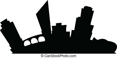 Cartoon Grand Rapids - Cartoon skyline silhouette of the...