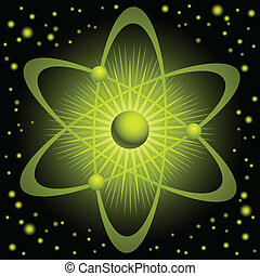 Green Atom - Illustration of a green atom with orbiting...