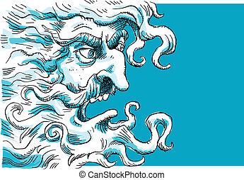 Angry God - An angry cartoon god's unhappy face.