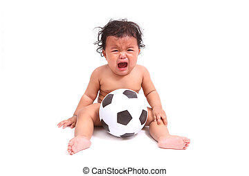 Cute baby cry  with ball isolated on white