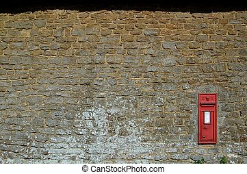 Postbox and wall - English Postbox and wall